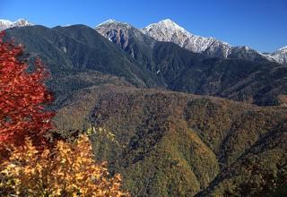 聖岳に冠雪がありました